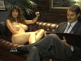 Curly brunette surrounding broad in the beam natural tits in action