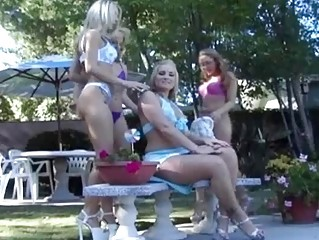 Four uncompromisingly beautiful lesbians squirt alot