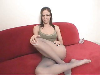 Horny brunette chick in pantyhose Addison Rose teasing us with her awesome body