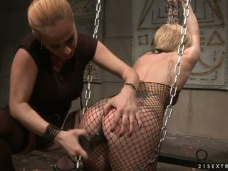 Katy Borman handcuffed gold drill with dildo in the ass