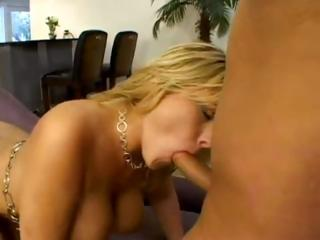 Velicity Von is a golden-haired bimbo MILF with big melons hungry for pecker