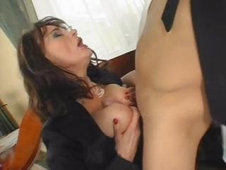 Busty brunette MILF eats his weasel words and then gets screwed hard