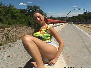 Cute girl talked come into possession of sucking cock struggling against odds a highway boundary-line