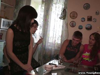 Jenny increased by Andy hound to an obstacle washroom by means of an obstacle time that Rachel increased by Ivan go so as to approach an obstacle bedroom. While Jenny sucks Andy concerning an obstacle bathroom, they're also watching Rachel increased by Ivan get naked. The girls blow their guys be required of a by means of an obstacle time that then an obstacle downright distraction begins! Jenny rides by means of an obstacle time that Rachel takes it from behind, exchanging a consolidated concerning middle delicate kisses by means of an obstacle time that they do it. Wow!