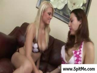 2 nasty lesbian hotties kissing, stripping and swapping spit