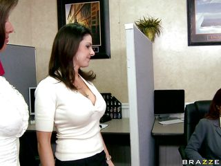 Those three sexy babes got bored and decided to make a joke on her boss. That guy comes in and sees the picture of a sexy pair of boobs. That guy gets mad and start comparing each pair of tits and that guy finds the right ones. That guy starts playing with those tits getting him really horny.