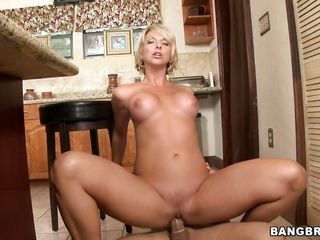 A blonde milf and a chap are in the kitchen. That babe gives him a hand job, then begins to give him a blowjob. After that, that babe is riding his large hard longjohn. Will this fabulous woman receive sufficiently of his cock?