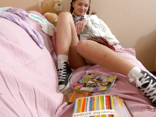 schoolgirl being dirty helter-skelter herself