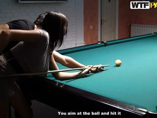Malika may not be very good at playing billiards but we can say she's nice-looking good at playing with other kinds of balls. Here she is trying to hit that ball when the guy sees her nice arse and those small panties. He begins to be lascivious and begins undressing her. Will that guy receive her to play with his balls?