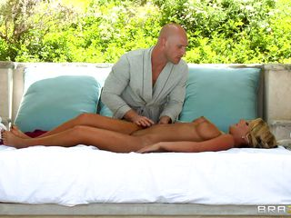 Whether girl wanted her or not, once she got down to let him massage her. there was not much chance that the bald guy will pass up such a golden opportunity. Before long he licks her oiled cunt and makes her ready to receive the large one right up her ass. Of course, she is loving it all the way.