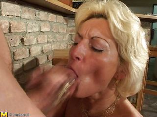 Stefana is a blond mature bitch that loves to sucks cocks every time this babe can. Now this babe has in her throat a long cock that this babe sucks it very nice while this babe sitting on her knees. The younger guy is ready now to permeate her deep so he begins fucking her pussy from behind making Stefana screaming of pleasure.