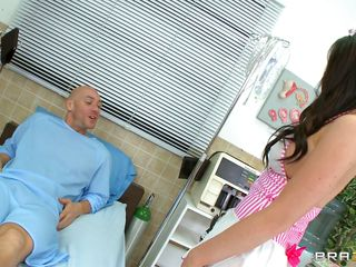 A candy stripe nurse arrive to take care of her patient. The obscene mind patient tells her that as this guy is going to die so this guy wants the last fuck of his life, the sexy babe replies that she is ready to help him in completing his last wish by fucking her pussy. Her worthy tits are groped and licked.