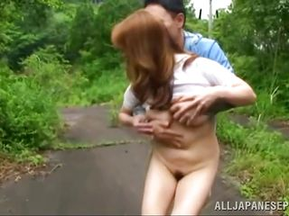 undressed and pussy licked on the road