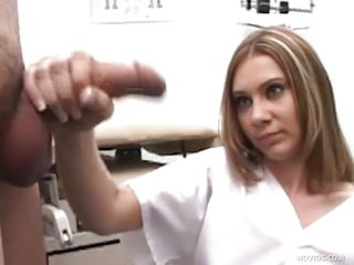 Mike goes to the doctor to see what's wrong with his dick. 2 nurses, Karen and Jenna, inspect his cock by making him jerk it in front of them. They aid him give a sperm sample by taking turning jerking his penis.