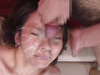 cum drips from her charming face