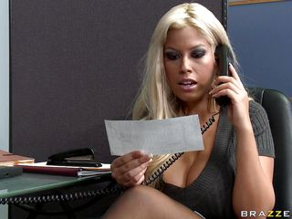 Watch this hawt babe entering her bosses office asking for some money. Look at her big tits and her juicy lips sucking that big cock. Suddenly his wife comes in and he freaks out but the horny slut still doesn't want to leave. Is she going to get some additional money?