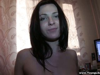 After getting her snatch fingered in the bedroom this horny dark brown started licking and sucking the guy penis like a naughty girl. She is a marvelous beauty with long dark hair, cute tits, hairless snatch and sexy fleshly lips.