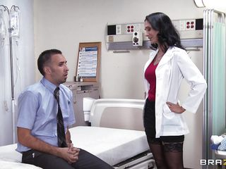 An ordinary consult turns into way more than that. Sexy brunette doctor with curly hair, darksome stockings and fantastic body, gives her patient a blowjob that he'll never forget. This babe pulls out her boobs, then that babe is being undressed by him. What will they do next?