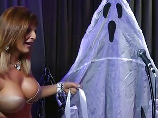 horny chick with big boobs on halloween show