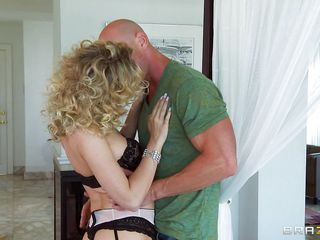 golden-haired babe's muff is fucked hard from behind in bed