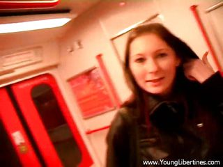 Watch this slut engulfing a white cock in a public underground train . This harlots gets on her knees, shows her tongue and begins engulfing the cock like a nice girl, this babe can't live without doing this and maybe that's the reason this babe always travels without buying a ticket.