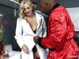 Aged busty blonde doctor arrives for checkup of her patient. Black man begins to seduce her and offers her for ride of her lifetime. At first doctor denies but sluggishly and steadily comes in the charm of giant hard black cock. He makes her naked and takes her to the bed and licks her fleshy pussy.