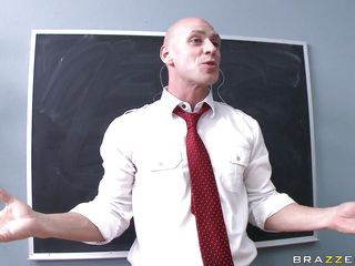 Diamond Kitty is the only other student in class, who just finished her biology presentation on the tits. Johnny gets up front and does his on the penis. Diamond gets excited about this, getting her jugs out, rubbing and fingering her vagina as that guy does. The teacher gets onto her about being noisy.