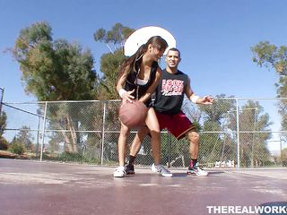 Kina Kai is playing basketball with her man. After the game, it's time for some more one-on-one, this time without the clothes. Her snatch gets licked after those little shorts come off, and that babe even sits on her man's face. It's a quick flip so that babe can suck him at the same time. Looks like both win!