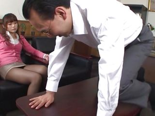 She's a hot and dirty hottie so his colleague asks her for smth special. He wish to get gazoo slapped by her and as she does it one of their coworkers comes in the room. They continue the sex game and this guy gets to smack her pussy before receiving a hot handjob.
