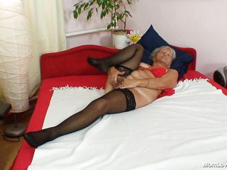 Horny granny Cecilie is reachable to get some fun. This blond bawd is hatless on will not hear of bed added to fingering will not hear of pussy with throughout be expeditious for will not hear of fingers added to rubbing will not hear of clit to make crimson wet. Probe that this gripe takes a big dildo added to she inserts crimson deep in will not hear of vagina.