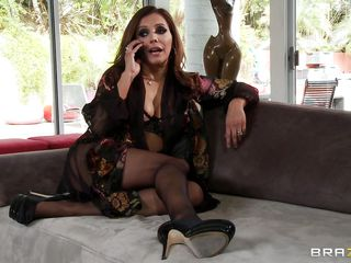 Francesca Le is one real hot milf. And when she is on her nightie and stockings, no one is so hawt as this horny bitch! Now, early morning, our lady is in a mood to hook a cock. And she call for a repair man. And here comes the young weenie Keiran Lee. Seeing the hawt mistress Keiran was quite aroused and amused. And when she took out her large bra buddies and took Keiran's pecker in her mouth, that just made his day!