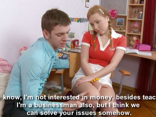 That babe may not be smart but with a body like that who need brains? Sarah is beautiful, perfect breasts, hot ass and a sweet face that is making her teacher thinking about other way to make her pass the session. The bitch agrees to fuck with him and he undresses her, then things get really hot!
