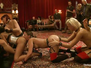 four horny girls pleasuring white man