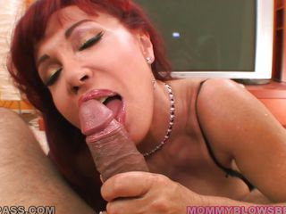 redhead granny sucking cock of a piece with a floosie
