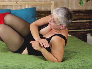 Don't be surprised! Old women wants to feel hot every now and then too! Granny wears stockings and daring underwear while this babe feels herself in bed. She proceeds to play with her saggy boobs and her aging pussy which badly needs a knob inside of it! If Granny can only discover a fellow for herself!