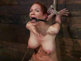 These large whoppers are delicious and perfect and after the guy copulates her pretty mouth this chab ties it and starts punishing these perfect breasts. 1st this chab uses some suckers so that her nipples will hardener and then, using a string, the executor ties her hard pink nipples and pulls them, leaving her in a stage of constant pain and enjoyment as her vagina is stimulated by that sex toy underneath her.