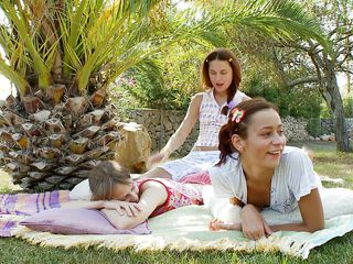 three hot women having enjoyment outdoors
