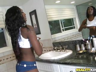 black hotty getting her bubble butt wet