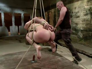 big bald guy punishing a slut