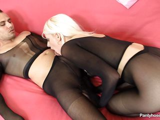 team of two wearing black pantyhose having hard sex out of reach of chum around with annoy bed