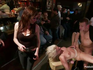 diminutive tits beautiful golden-haired fastened and screwed in a bar