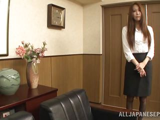 Risa was pretty soon to found out what a bad boss she has. She entered in his office probably asking for a raise but the only thing that raised was her bosses cock. He knelt her and gave her his ramrod for a suck previous to bending over this brown haired beauty. She stood there and got screwed roughly from behind.
