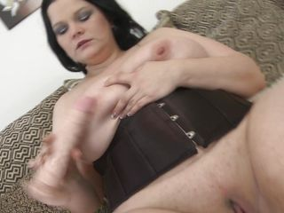 chubby brunette matured plays with her huge interior and shaved cunt