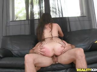 This Latina has perfect body to fuck and please your appetite for sex. And this babe is even hotter within that fishnet dress she's wearing. Watch that lucky dude enjoying every inch of her hot body and fucking her with that large dick. He begins it with the cock ride and finally fucks her from behind on the couch!