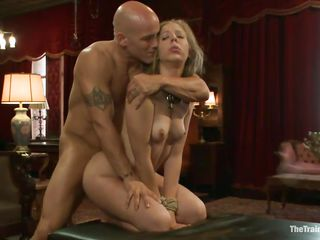 The bald guy stuffs this blonde cutie with his large hard dick. His cock fills her anus and then her mouth and she sucks it in a very hot manner, looking up whilst wrapping her pink juicy lips around that bald penis. She's pretty and slutty, wouldn't you just love to see her face overspread with a large load of hot semen?