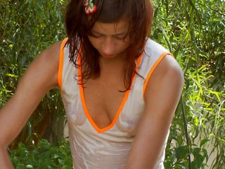 natasha shy does some gardening and some masturbating