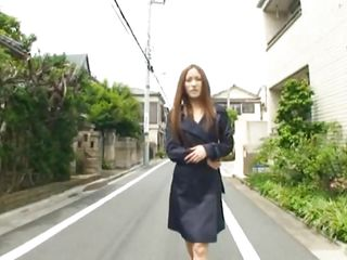 Walking on the streets wearing an overcoat and having nothing underneath it the charming Nippon chicks burns with desire for fucking. That babe has an attachable dildo with her and goes in a parking place to use it. Masturbating in a public place makes her lustful and she takes her time. Is she going to get caught?