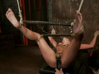 Aleska Nicole is new but this babe wants to prove everyone that her cum asking cunt and large naughty boobs can do the job as good as any porn actress. Here this babe is, tied and abased by her executor in a vault, her sexy thighs are spread and tied using a stick and some rope so the executor can have full access on that awesome bawdy cleft that this guy takes great joy to finger unfathomable and rub with a vibrator. She groans with joy as this guy punishes her cunt and those clamps on her large firm boobs induces her the pains this babe deserves.