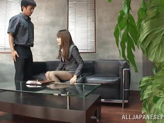 Sumire is conducting an interview of a promising, young, potential employee. This babe likes his answers and even though it's an office, there's a physical as well which this babe does personally. This babe has him receive undressed, then examines him further by sucking his rock-hard dick. I think he's got the job!