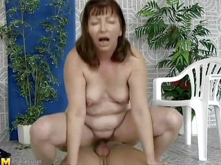 This older woman was looking for a swim, but a better exercise to loosen you up is riding a cock, which is exactly what she's doing. She slips down every inch of her man's dick, loving the feeling of being fucked. She gets off to ride him normally, and he thrusts up hard and fast in her hairy cunt.
